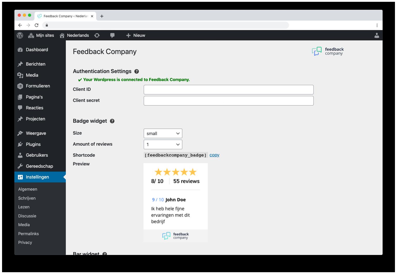Wordpress integratie